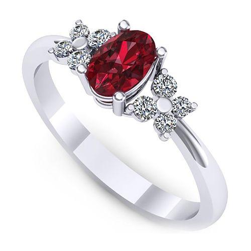 Inel logodna L130ARB cu diamante si rubin