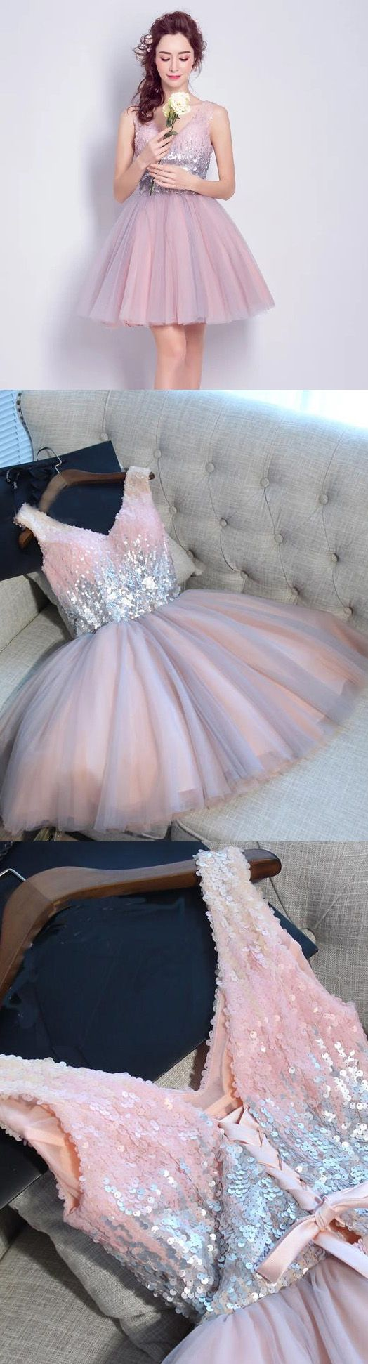 Custom Made Pink A-line/Princess Prom Party Dresses Admirable Short V-Neck Prom Dresses With Bandage Lace Up Dresses