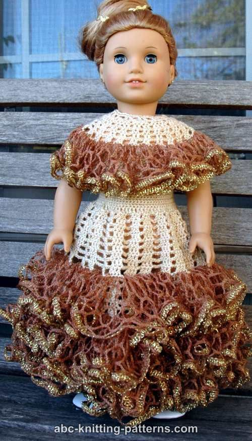 ABC Knitting Patterns - American Girl Doll Southern Belle Dress II