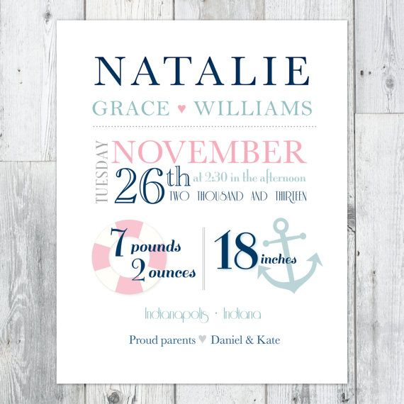70 best girly nautical images on pinterest nursery ideas baby baby girl subway art printable nautical nursery art birth stats from perpetually daydreaming designs makes a great baby gift negle Gallery