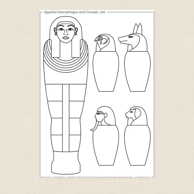 Egyptian Sarcophagus and Canopic Jars Colouring Sheet ...