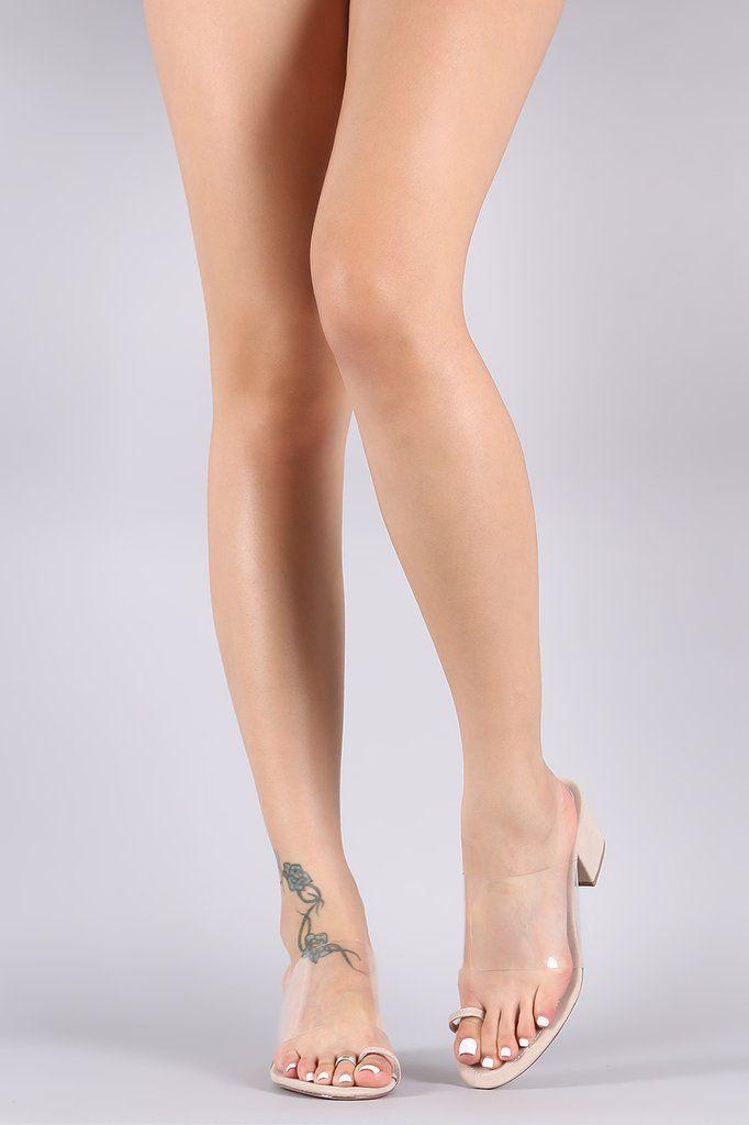 Clear Strap Toe Ring Mule Block Heel