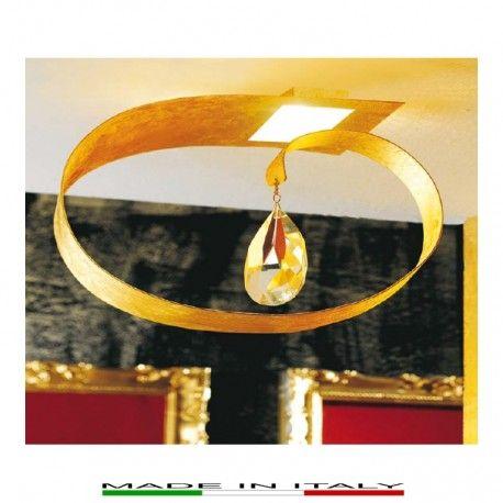 PICTA -  Lampada da soffitto, realizzata in metallo laccato con finiture eseguite manualmente in foglia oro. Pendaglio in cristallo trasparente molato.