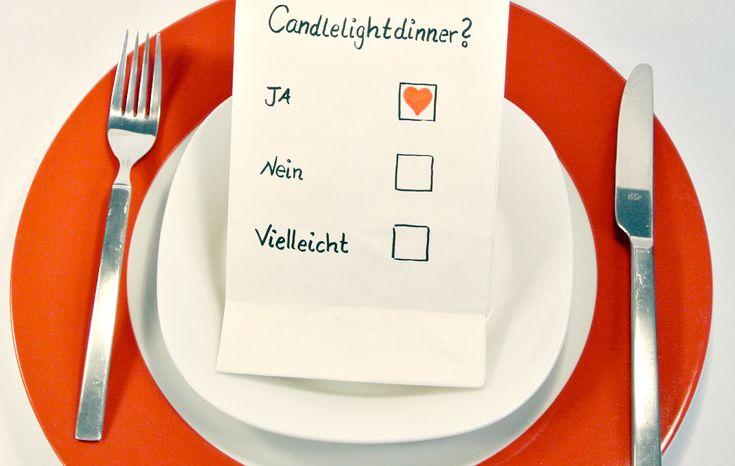 Einladung romantisches Dinner | Valentinstag: Einladung zum Candlelight-Dinner - Basteln - DAS HAUS
