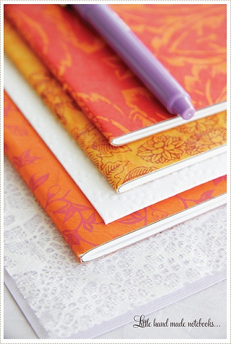 Notebooks, via Flickr. I can't tell if it's scrapbook paper or fabric. :/Creative Mint, Adorable Stationery, Handmade Notebooks, Art Journals, Parties Favors, Scrapbook Paper, Colors Orange Purple, Handmade Journals, Orange Journals