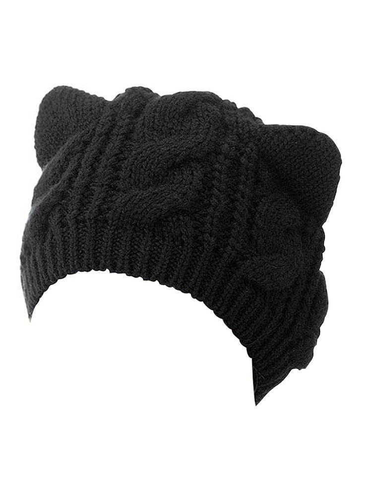Black Cat Ears Knit Beanie Hat