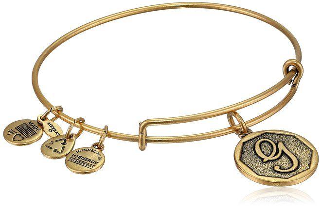 "Alex and Ani Rafaelian Gold Finish Initial ""G"" Expandable Wire Bangle Bracelet, 2.5"""