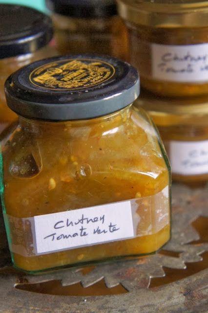 Gourmandises et Merveilles: Chutney de tomates vertes aux épices, pommes et oignons