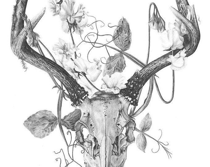 Crâne de cerf et fleurs , tatouage temporaire