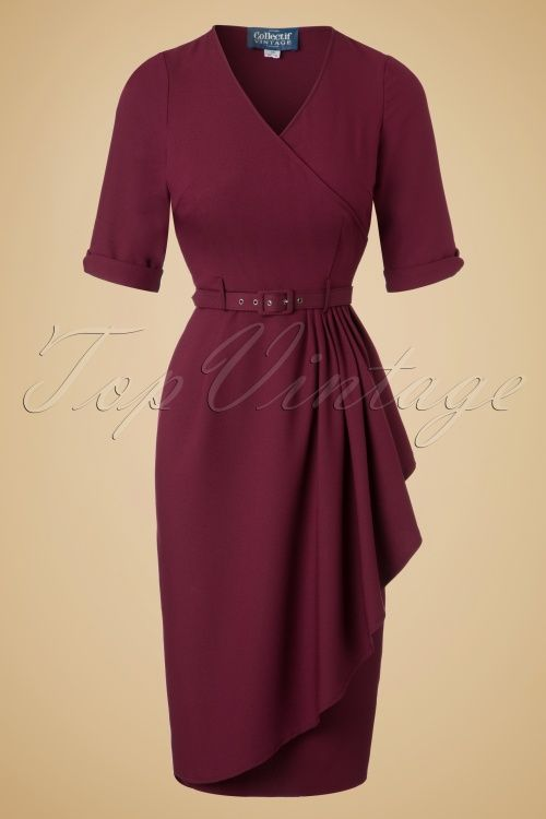 Collectif Clothing - 50s Edwina Pencil Dress in Wine