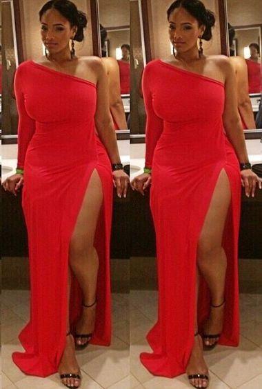 Plus Size Prom Dress,Red Prom Dress,Split Prom Dress,Fashion