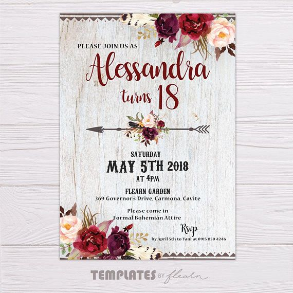 Bohemian Invitation Bohemian Printable Floral Invitation