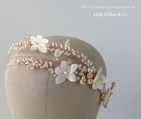 MARNIE Mother Of Pearls Bridal Headdress Rose By LittleWillowandCo