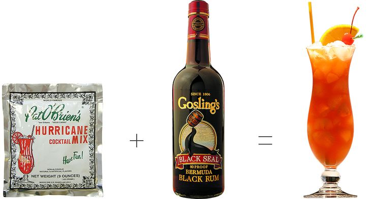 Gosling's Black Seal Rum  Pat O'Brien's Hurricane Mix (or juice, see below)  Orange slice  Maraschino cherries