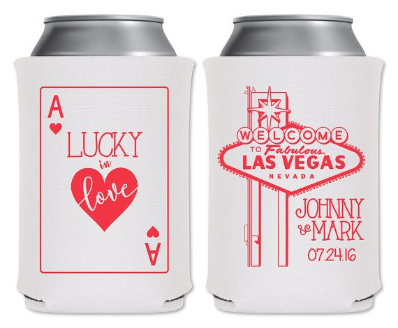 """Wedding Can Coolers Beverage Insulators Koozies Personalized Wedding Favors - Lucky In Love Coozies by """"ThatWedShop"""" on Etsy   Funny Wedding Favors   Perfect For Las Vegas Weddings   #ThatWeddingShop #ThatWedShop #WeddingFavors #LuckyInLove #VegasWedding #FunnyWeddingFavors #PartyFavors #CustomKoozies #WeddingKoozies"""