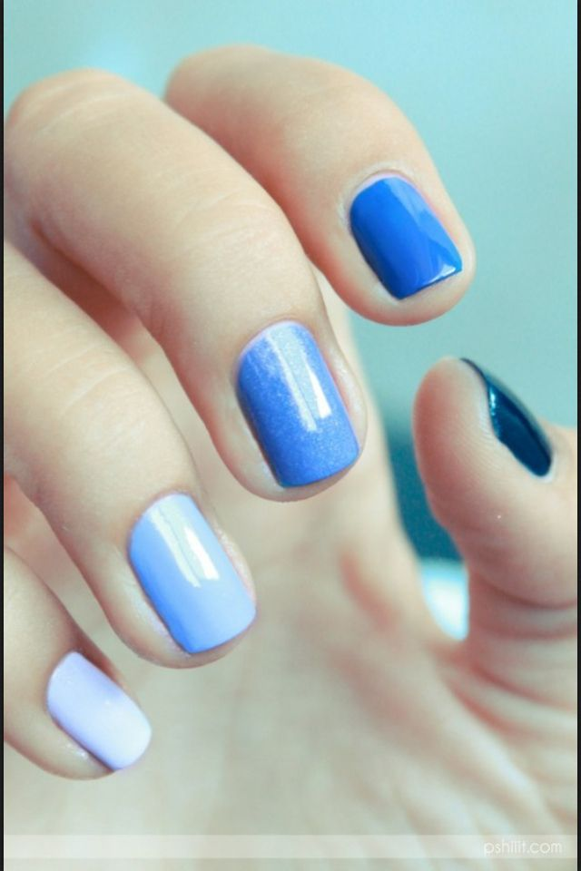 Blue Ombre nails.  I want to have my toes done like this for our baby shower!