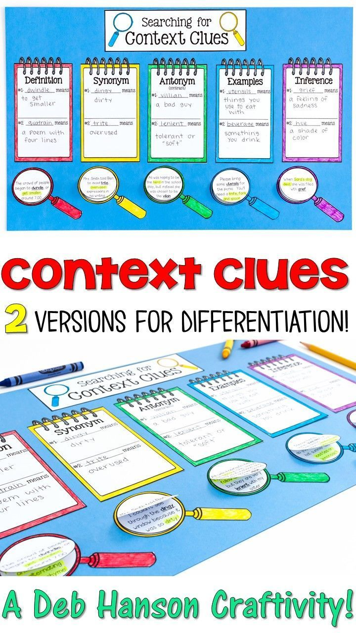 Worksheet 5 Context Clues 1000 ideas about context clues on pinterest activity 2 versions for differentiation