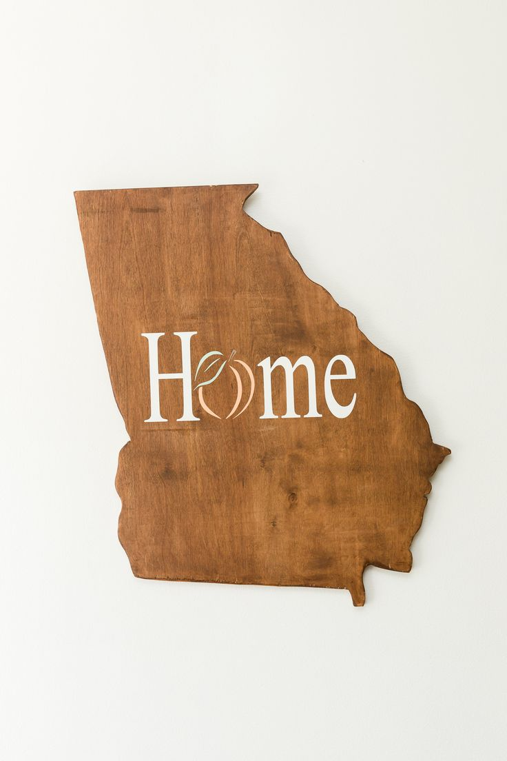"***Flash Sale - Sold as is and is non-refundable*** Home with peach Georgia wood cutout Approximate measurements: 22"" x 22"" 1/2"" wood cutout of Georgia Hand painted with white, peach and mint acrylic"
