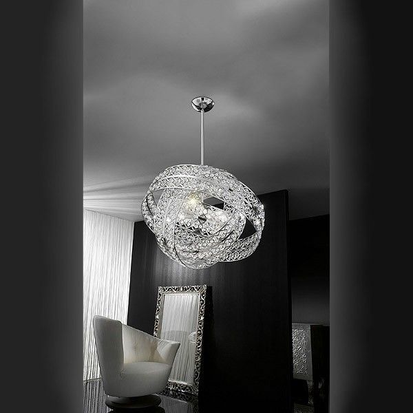 Modern chandelier made with lead crystal 24% PbO and a metallic frame nickel or gold plated. The light is diffused from dozens of crystal stars which will add a beautiful texture to glamorous environments.