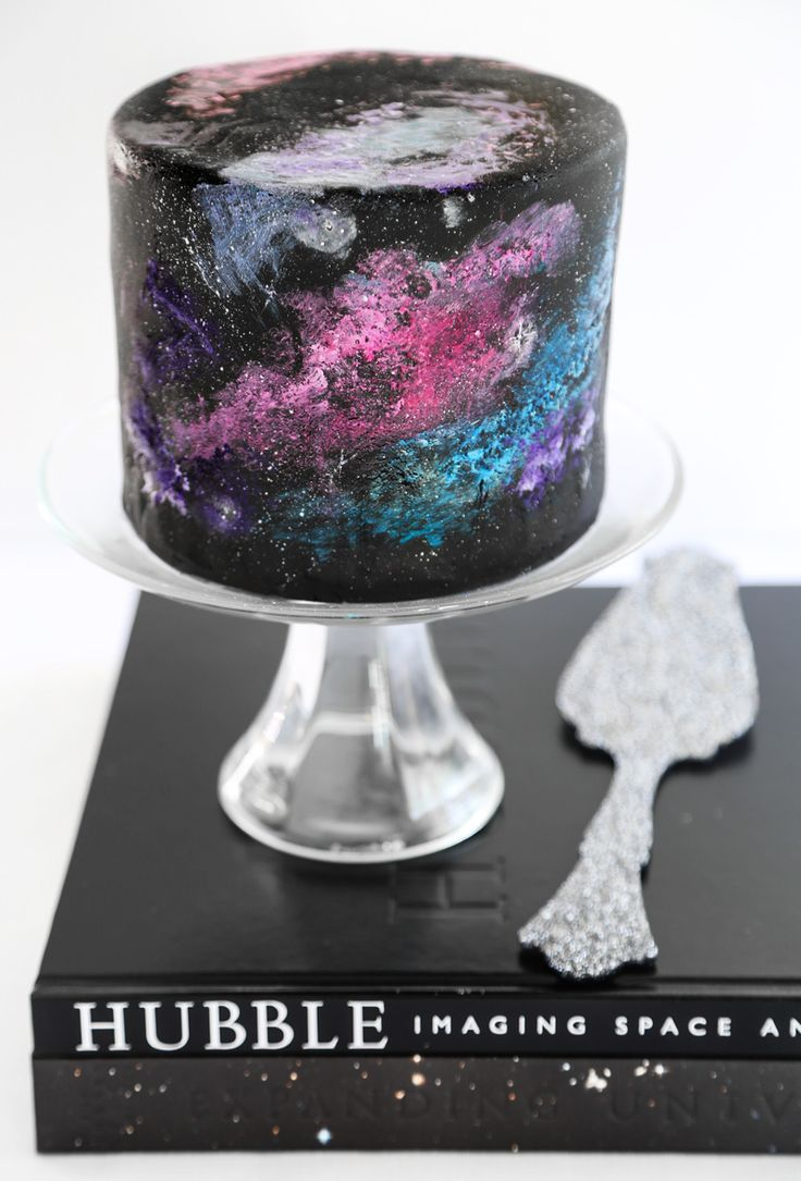 Black velvet nebula cake: The force is strong with this pastry. #space #birthday #cake