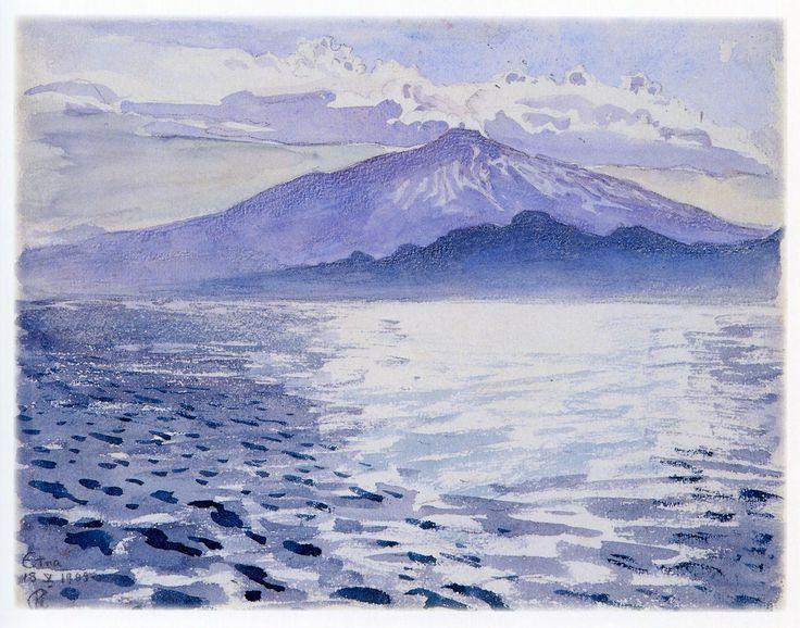 """ Akseli Gallen-Kallela, Mount Etna, 1909. Watercolour. """