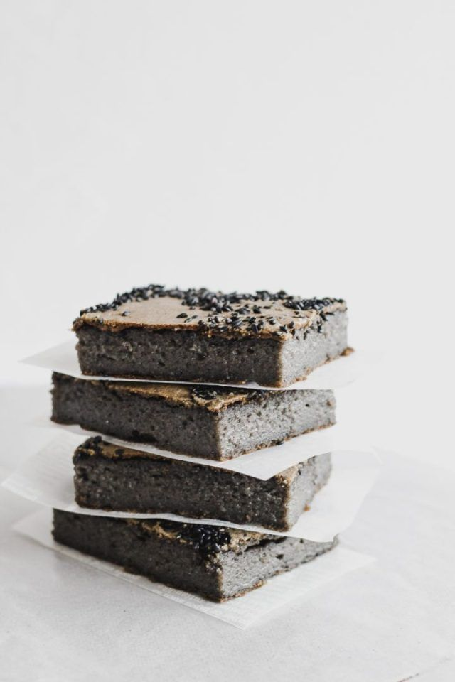 black sesame butter mochi recipe butter mochi asian desserts chocolate recipes pinterest