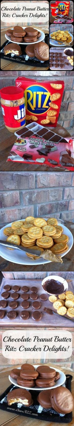 YUMMY Chocolate Peanut Butter Ritz Cracker Recipe!!! You will want to pin this and save it for later! http://www.isavea2z.com/chocolate-peanut-butter-ritz-crackers/
