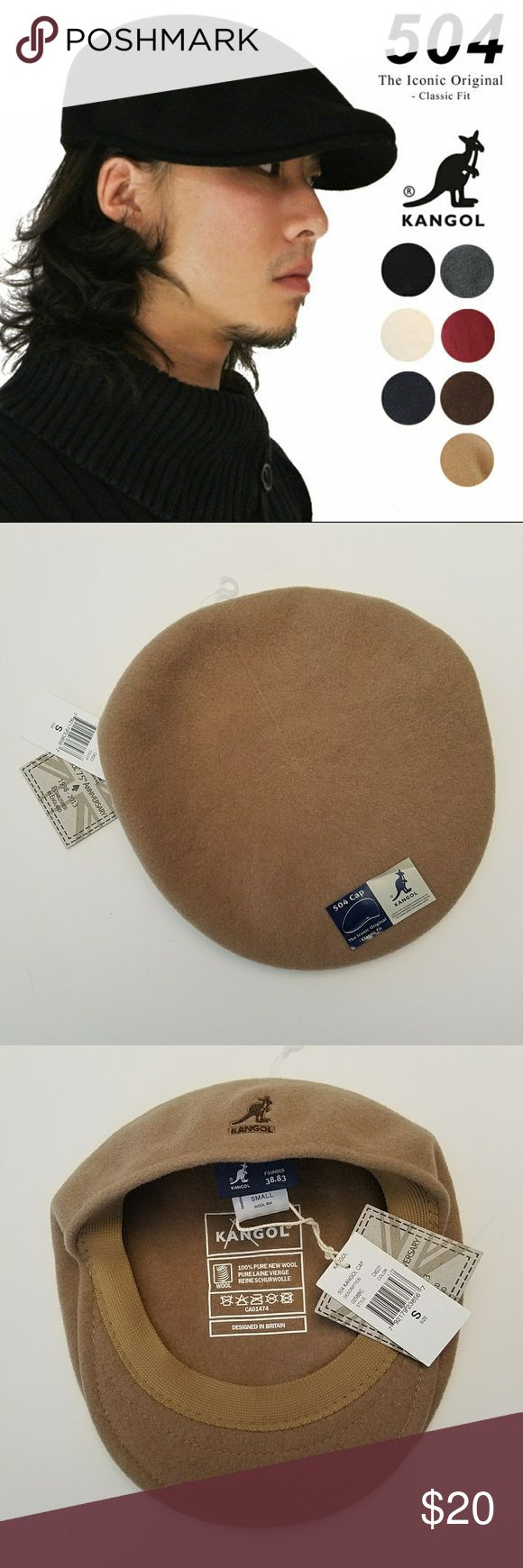 Kangol Wool 504 Cap, light brown/tan, size Small The Wool 504 is the iconic, original Kangol Cap. First introduced in 1954, the 504 cap gets its name from the block number that it is made on. The 100% seamless wool cap is the ultimate cap for comfort & style. Never worn. NWT From smoke-free home Kangol Accessories Hats