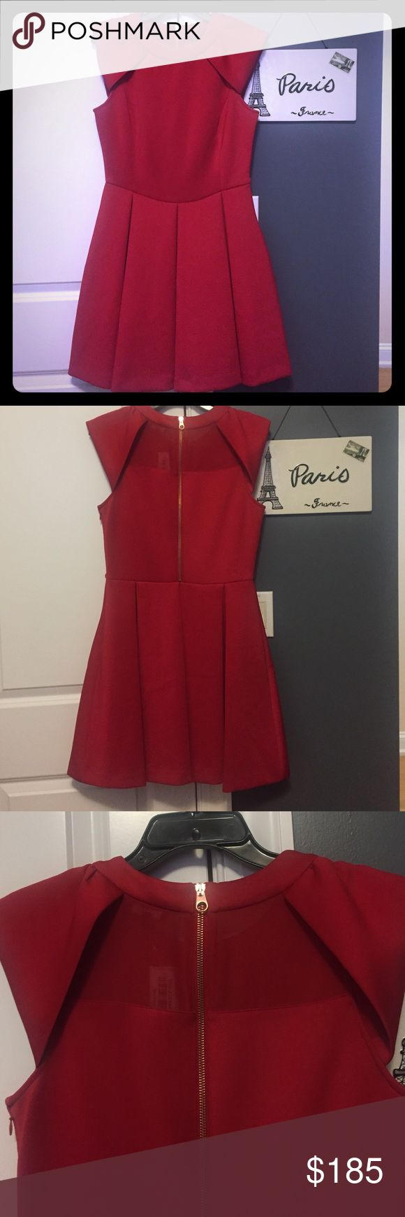Ted Baker awesome red dress👗size 3(8) Awesome red cap sleeved a line dress with back gold zipped for style and side zipper (both work), with mesh upper back. Purchase at Saks Fifth Avenue for a wedding and never wore it! Size 3 equals size 8. 34.5 inches long, 14 waist across and 16 armpit to armpit Ted Baker London Dresses