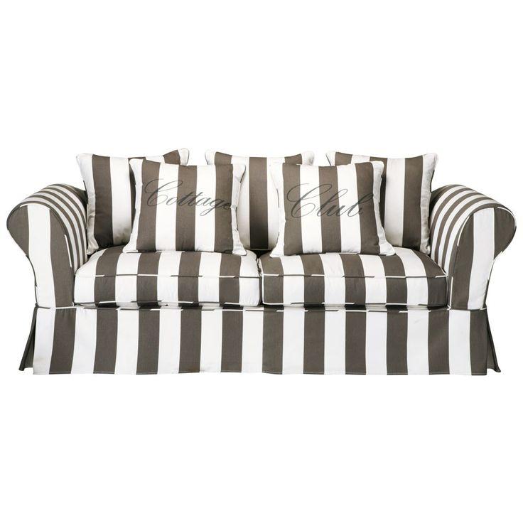 Sofa 3-/4-Sitzer aus Baumwolle, grau/weiß  Club