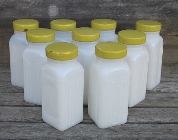 Vintage Griffith's Milk Glass Spice Jars with Cheerful Yellow Lids Lot of 9: Milk Glass