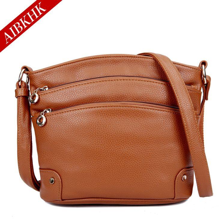 AIBKHK Women's Bag Genuine Leather All-Match Handbag Three Ply Cow Leather Messenger Bag Cross-body Bag Gift for Lady M009