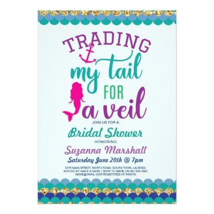 Mermaid Bridal Shower Invite Holiday Ocean Sea - invitations custom unique diy personalize occasions