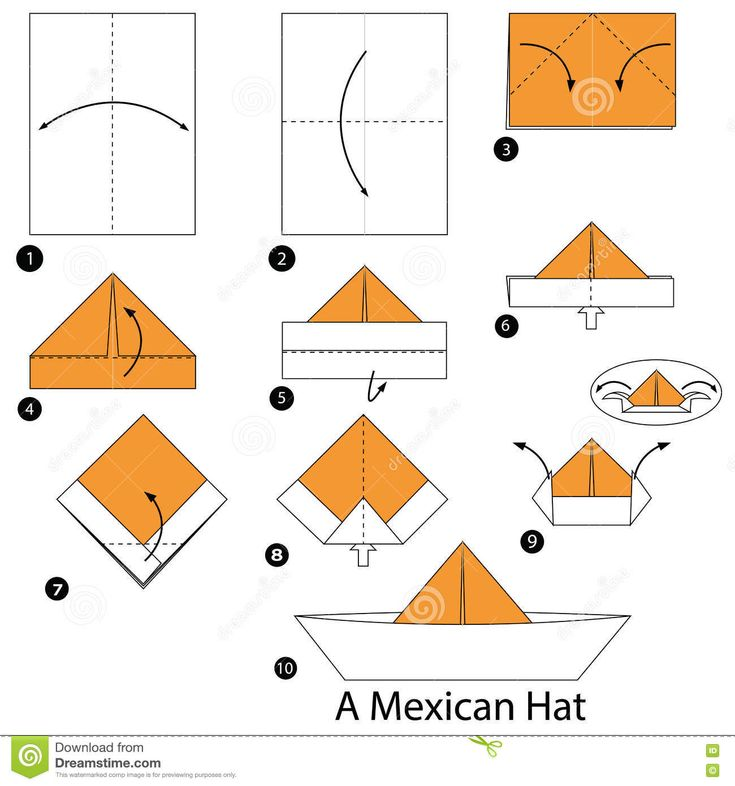 Step By Step Instructions How To Make Origami A Mexican Hat. Stock Vector - Image: 75777299