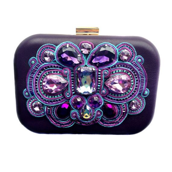 Amazing new addition to Black Market Jewels family is this exquisite purple box purse with soutache embroidery with braids in shades of purple