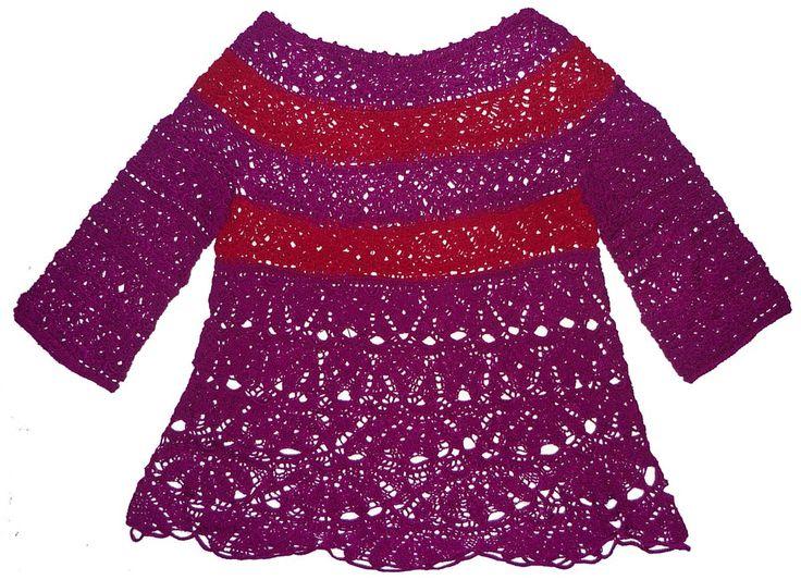 Blusa tejida a crochet (top down) en hilos de colores púrpura y rojo oscuro, talla M