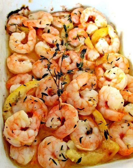 Cooking Pinterest: Roasted Lemon Garlic Shrimp Scampi