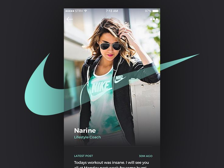 iOS Take 02 Featuring NIKE - Profile page concept for branded fashion stories by Marian Fusek
