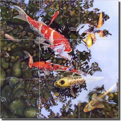"Ceramic Tile Mural Backsplash Macon Koi Fish Asian Art 18"" x 18"" LMA024 | eBay"