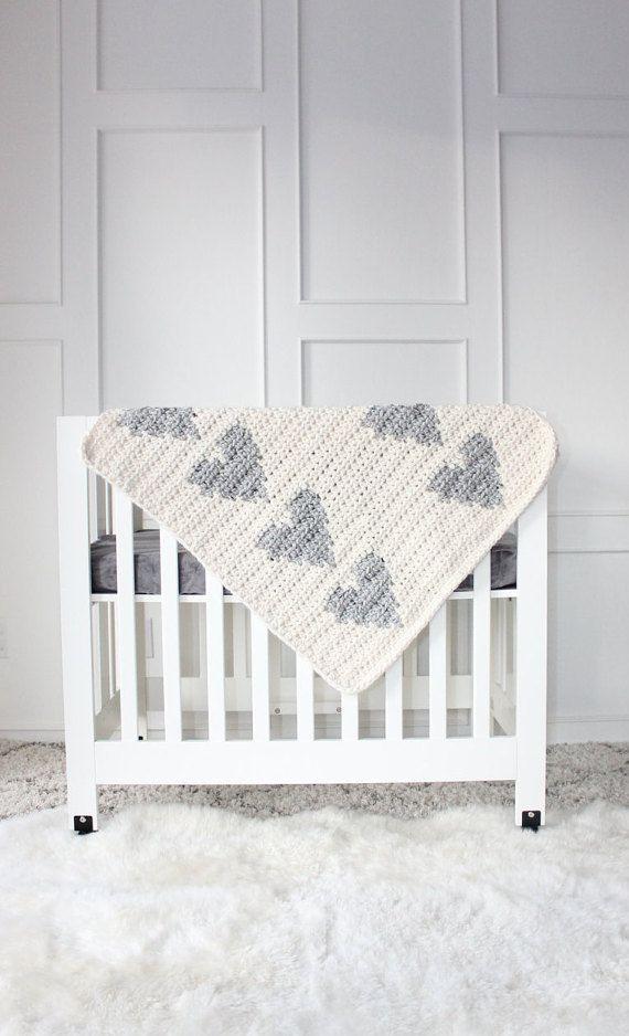 Chunky Knit Nursery Heart Blanket Cream & Grey by lilfoxshoppe