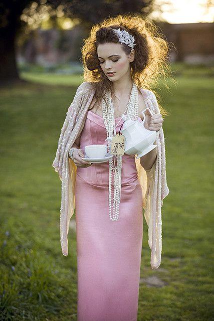 Girls pearls lace satin silk