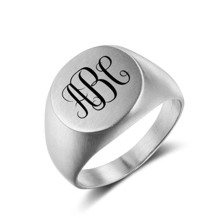 Post Included Aus Wide and to most international countries! >>>  Monogram Signet Ring - Round Silver Stainless Steel