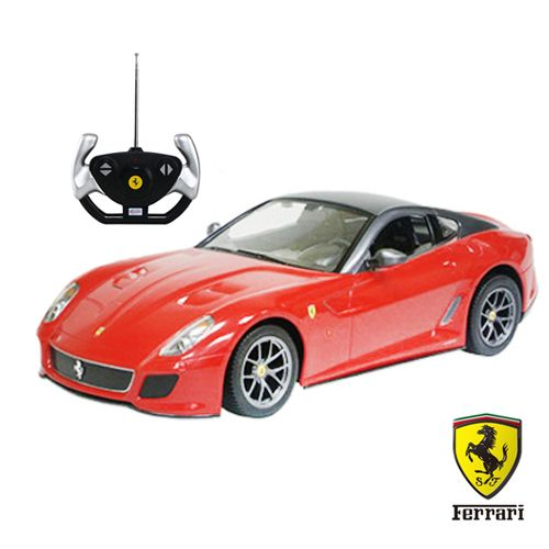 ¿Has visto el coche teledirigido Ferrari 599 GTO? El mando de radiocontrol te permitirá manejar cómodamente este divertido juguete con licencia de Ferrari. El coche funciona con 5 pilas AA (no incluidas) y el mando de radiocontrol con 1 pila 6F22 de 9 V (no incluida). Medidas: 33 x 15,5 cm (escala 1/14). Juguete apto para mayores de 6 años.