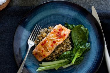 Lime, Chilli and Ginger Glazed Regal Salmon with Japanese Rice and Greens recipe – visit Food Hub for New Zealand recipes using local ingredients – foodhub.co.nz