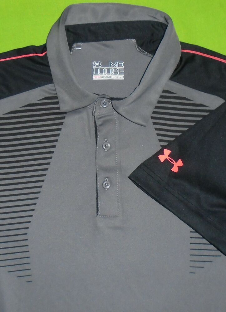 39cb142e7 Under Armour Golf Polo Shirt UA HeatGear w/Sponsor Logo on Sleeve Men M  Loose #Underarmour #PoloRugby