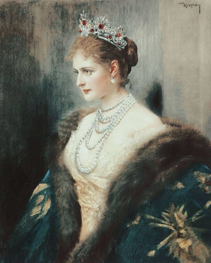 EMPRESS ALEXANDRA FEODOROVNA, NÉE PRINCESS ALIX OF HESSE~ The wife of Tsar Nicolas II, the last Romanov emperor of Russia. She is wearing a magnificent Imperial Russian Romanov Ruby and Diamond tiara, and multiple strands of huge natural pearls.