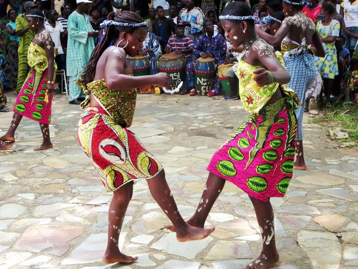 Traditional Ewa dancers perform the bobobo at the Hotel Campement de Kloto in the Forêt de Missahohe at Kouma-Konda village near Kpalime, Togo.