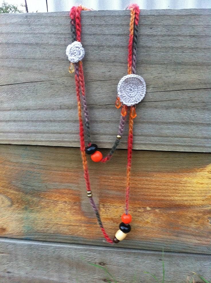 Desert Flower - Beads and Crochet Long Statement Necklace, Bohemian Jewellery. $80.00, via Etsy.