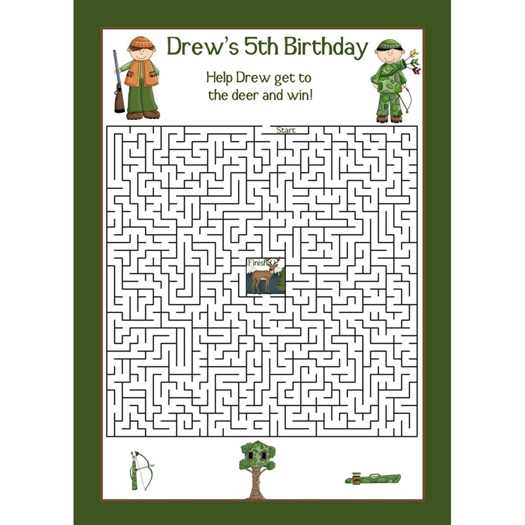 24 Personalized Birthday Maze Game Cards  DEER HUNTING. $14.00, via Etsy.