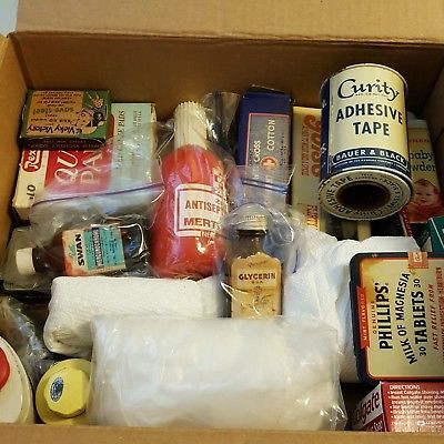 Vintage Medicine Tins Jars Health Lot 32 Boxes Apothecary Pharmacy Liniment Baby